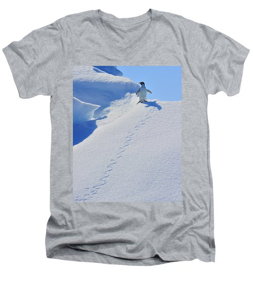 Adelie Penguin On Bergie Bit Men's V-Neck T-Shirt