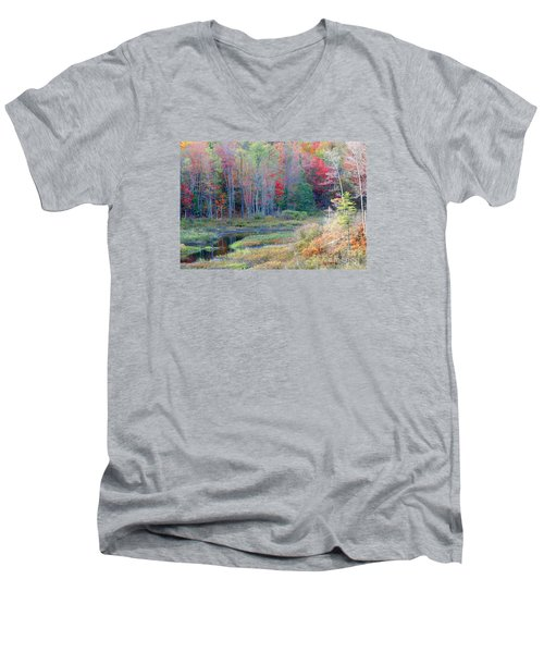 Adirondack Fall Men's V-Neck T-Shirt by Mariarosa Rockefeller