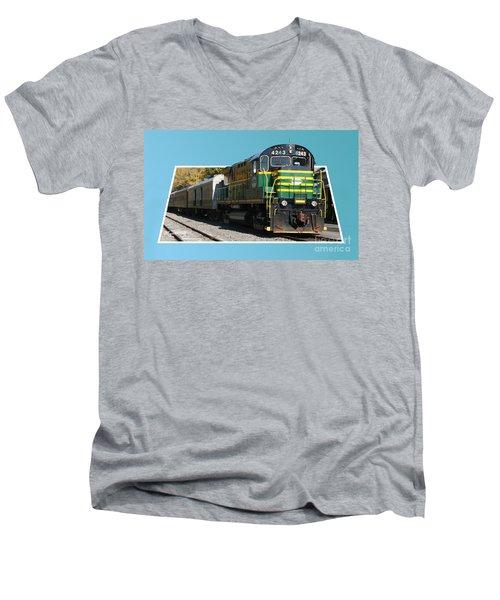 Adirondack Railroad Men's V-Neck T-Shirt by Mariarosa Rockefeller