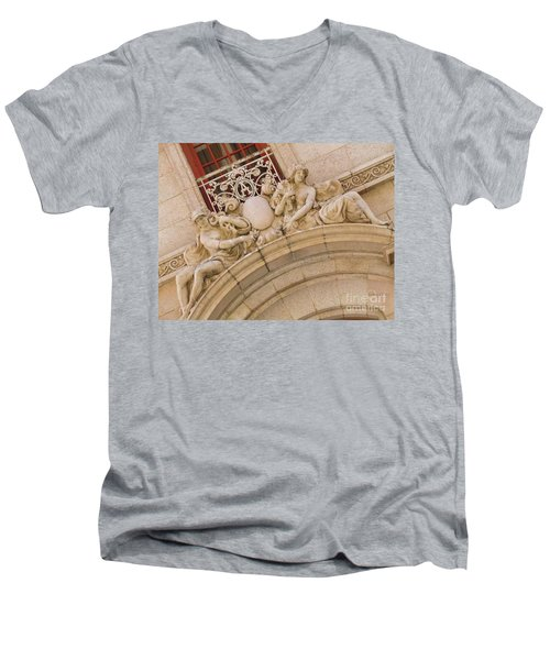 Men's V-Neck T-Shirt featuring the photograph Adolphus Hotel - Dallas #3 by Robert ONeil