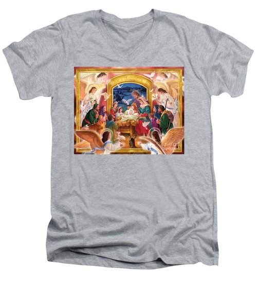 Adoring Angels Nativity Men's V-Neck T-Shirt