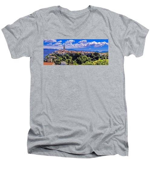Adriatic Town Of Vrbnik Panoramic View Men's V-Neck T-Shirt