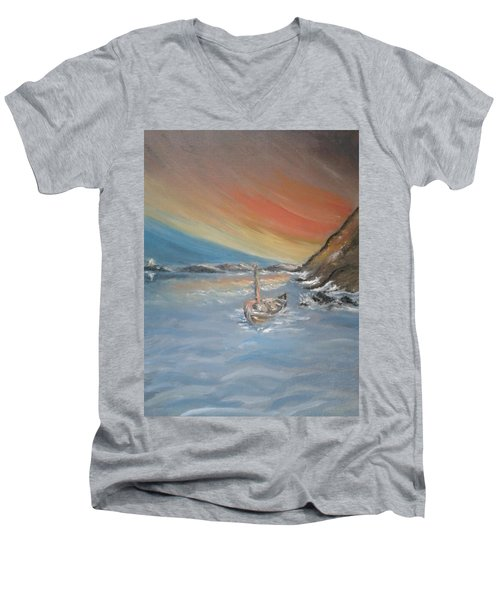 Men's V-Neck T-Shirt featuring the painting Adrift by Teresa White