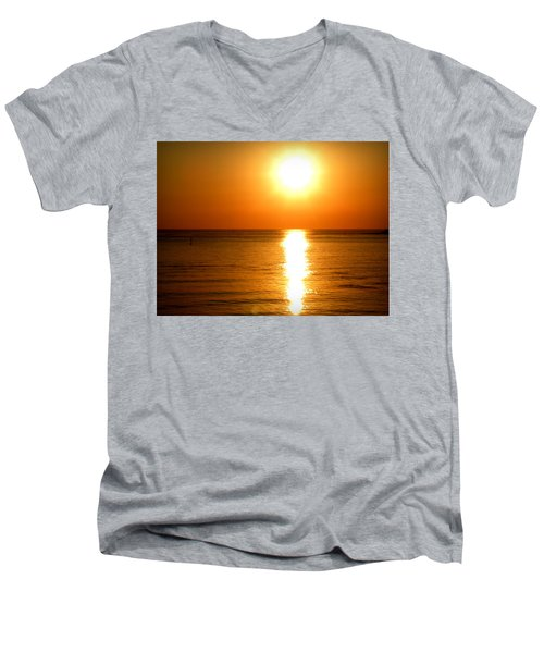 Men's V-Neck T-Shirt featuring the photograph Aegean Sunset by Micki Findlay