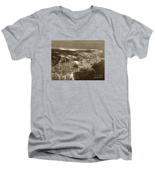 Aerial  Of Monterey Calif. Oct. 25 1934 Men's V-Neck T-Shirt