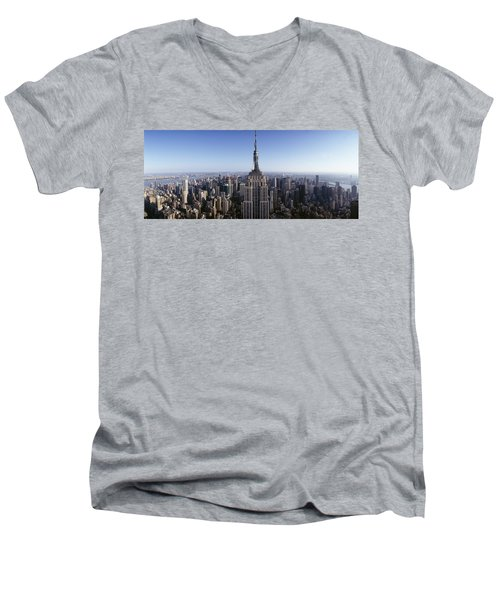 Aerial View Of A Cityscape, Empire Men's V-Neck T-Shirt by Panoramic Images