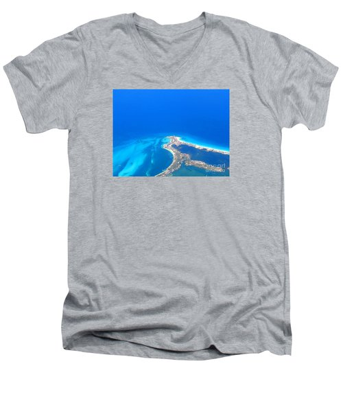 Men's V-Neck T-Shirt featuring the photograph Aerial View Of Cancun by Patti Whitten