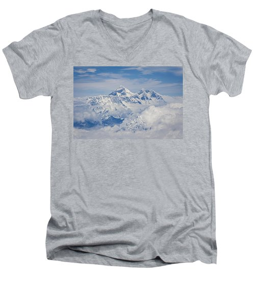 Aerial View Of Mount Everest Men's V-Neck T-Shirt by Hitendra SINKAR