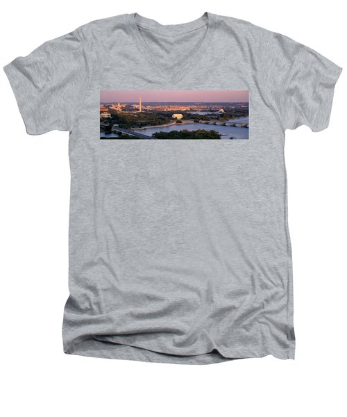 Aerial, Washington Dc, District Of Men's V-Neck T-Shirt by Panoramic Images