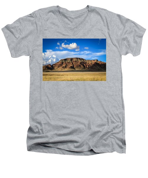 Aferican Grass And Mountain In Sossusvlei Men's V-Neck T-Shirt