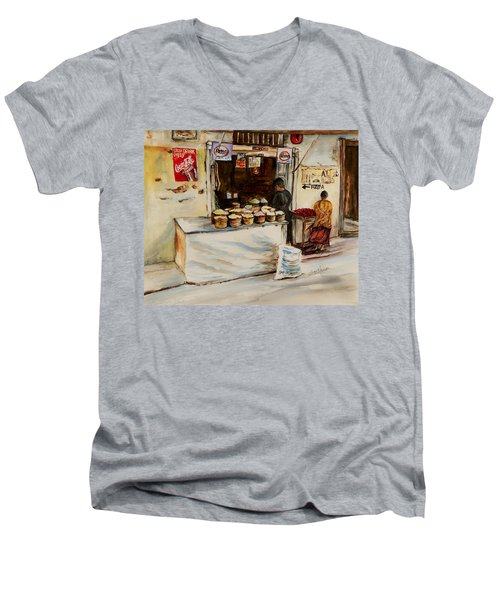 Men's V-Neck T-Shirt featuring the painting African Corner Store by Sher Nasser