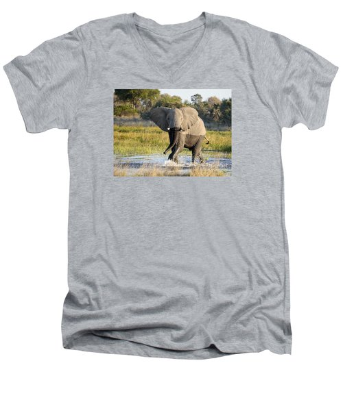 Men's V-Neck T-Shirt featuring the photograph African Elephant Mock-charging by Liz Leyden