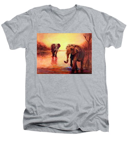 Men's V-Neck T-Shirt featuring the painting African Elephants At Sunset In The Serengeti by Sher Nasser