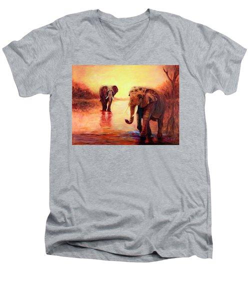 African Elephants At Sunset In The Serengeti Men's V-Neck T-Shirt