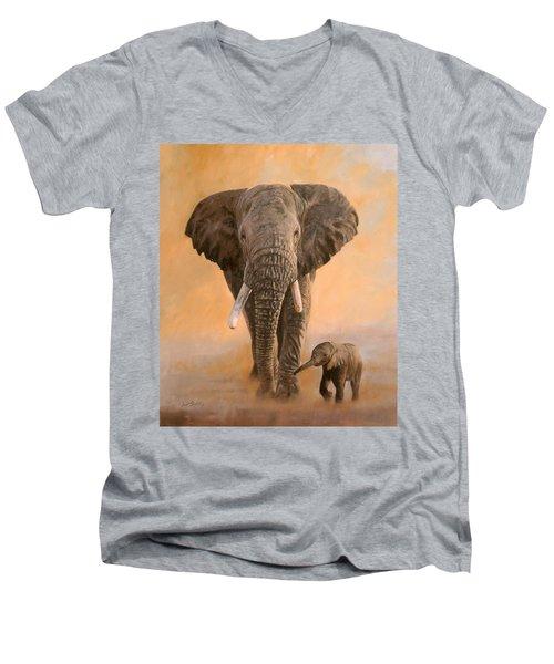 African Elephants Men's V-Neck T-Shirt by David Stribbling