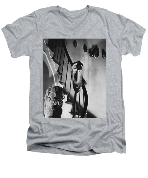 African Masks And Drums In Eugene O'neill's Men's V-Neck T-Shirt