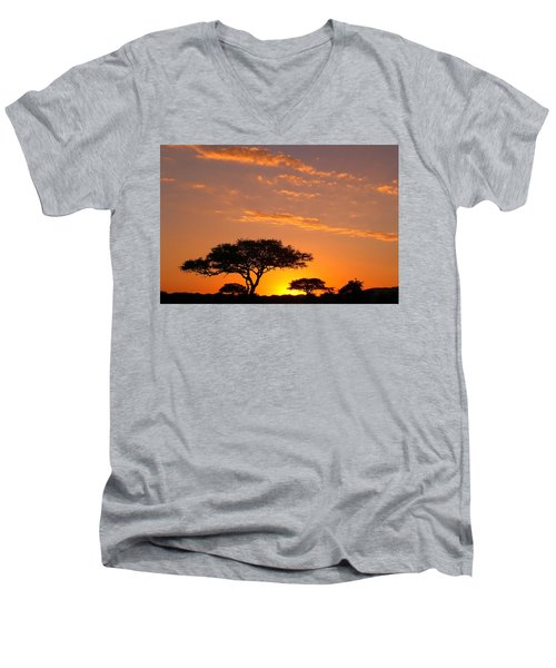 Men's V-Neck T-Shirt featuring the photograph African Sunset by Sebastian Musial