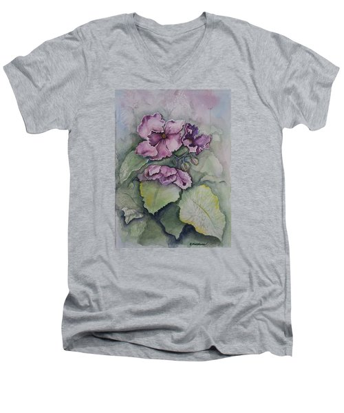 Men's V-Neck T-Shirt featuring the painting African Violets by Rebecca Matthews