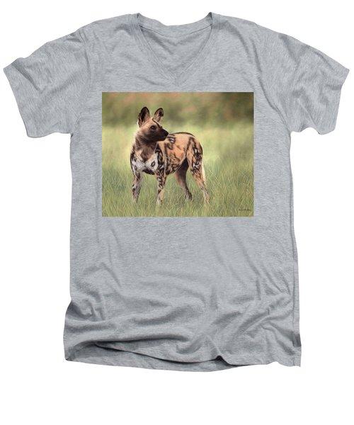 African Wild Dog Painting Men's V-Neck T-Shirt