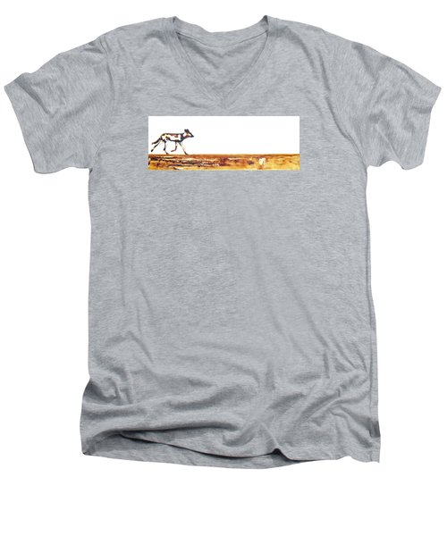 Endangered African Wild Dog - Original Artwork Men's V-Neck T-Shirt