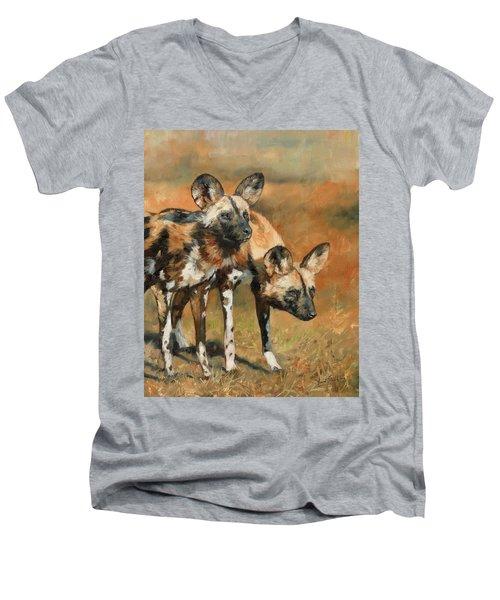African Wild Dogs Men's V-Neck T-Shirt by David Stribbling