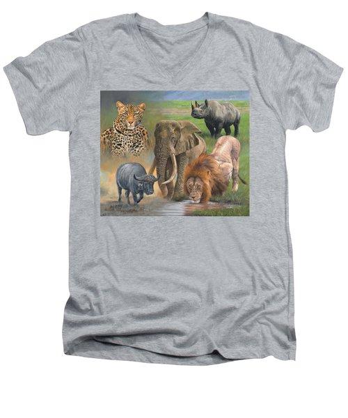 Africa's Big Five Men's V-Neck T-Shirt by David Stribbling