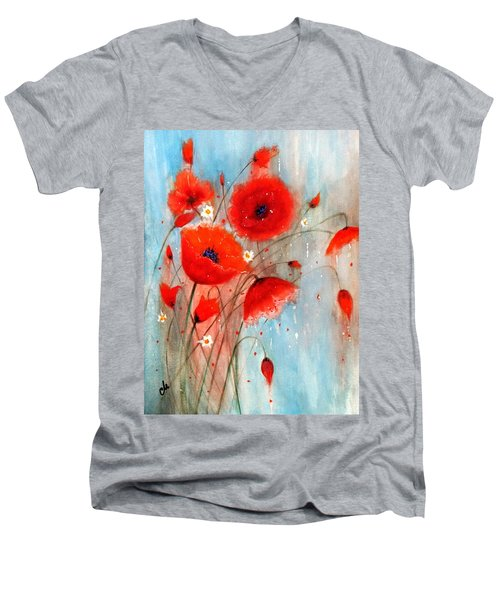 Men's V-Neck T-Shirt featuring the painting After The Rain.. by Cristina Mihailescu