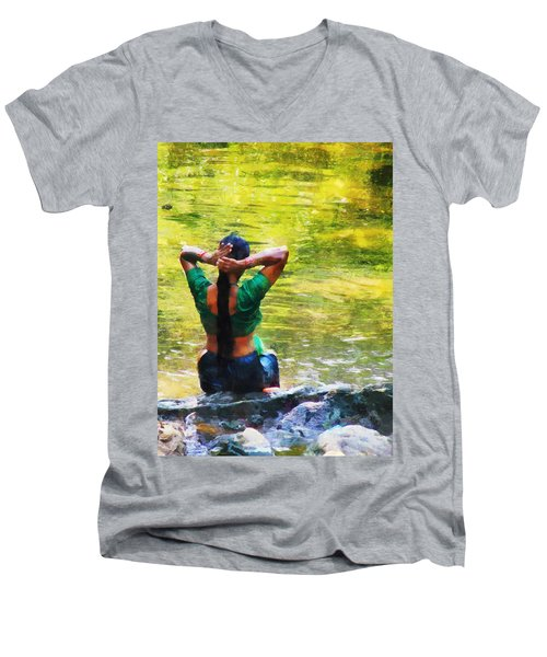 After The River Bathing. Indian Woman. Impressionism Men's V-Neck T-Shirt