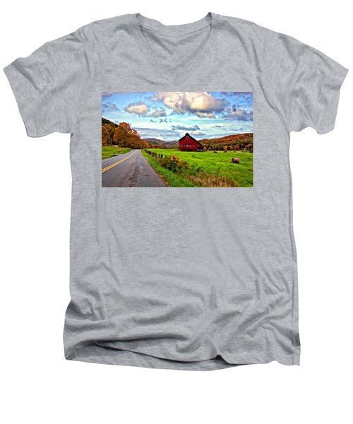 Ah...west Virginia Painted Men's V-Neck T-Shirt by Steve Harrington