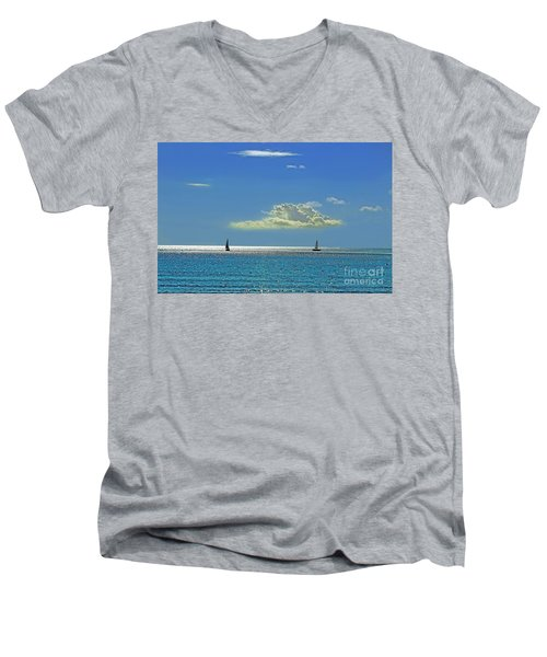 Men's V-Neck T-Shirt featuring the photograph Air Beautiful Beauty Blue Calm Cloud Cloudy Day by Paul Fearn