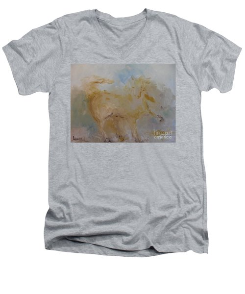 Men's V-Neck T-Shirt featuring the painting Airwalking by Laurie L