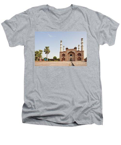 Akbar's Tomb In  India Men's V-Neck T-Shirt