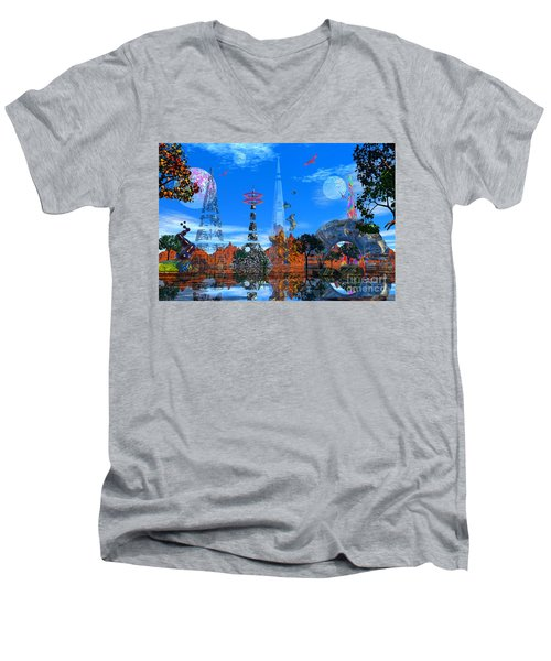 Men's V-Neck T-Shirt featuring the photograph Akrubaar by Mark Blauhoefer