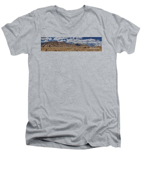 Alabama Hills And Eastern Sierra Nevada Mountains Men's V-Neck T-Shirt by Peggy Hughes