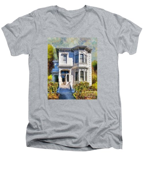 Men's V-Neck T-Shirt featuring the painting Alameda 1880 - Queen Anne  by Linda Weinstock