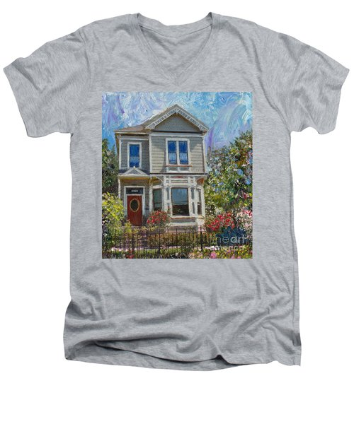 Men's V-Neck T-Shirt featuring the painting Alameda 1892 Queen Anne by Linda Weinstock