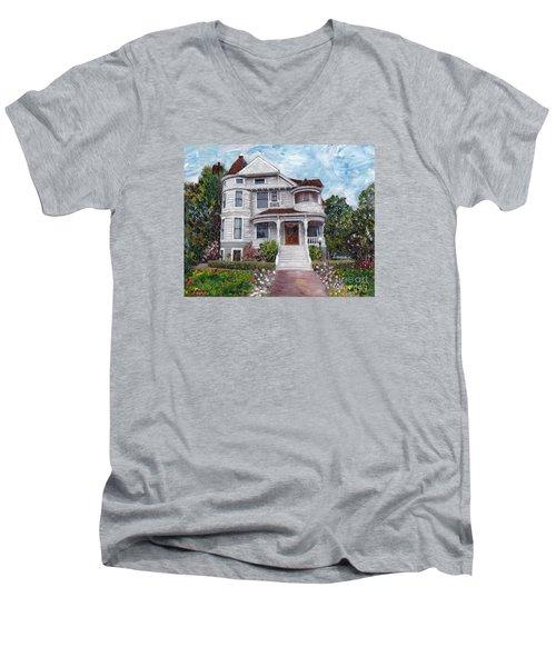 Alameda 1897 - Queen Anne Men's V-Neck T-Shirt by Linda Weinstock