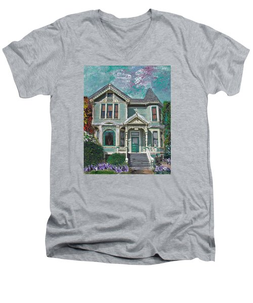 Men's V-Neck T-Shirt featuring the mixed media Alameda 1897 - Queen Anne by Linda Weinstock