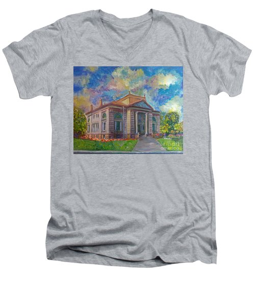 Men's V-Neck T-Shirt featuring the mixed media Alameda Carnegie Library 1899 by Linda Weinstock
