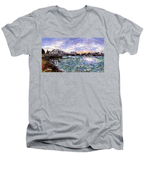 Men's V-Neck T-Shirt featuring the painting Alameda High Street Bridge  by Linda Weinstock