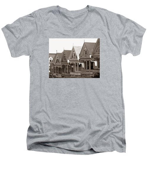 Alamo Square - Victorian Painted Ladies 2009 Men's V-Neck T-Shirt by Connie Fox