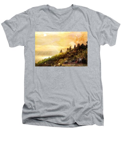Men's V-Neck T-Shirt featuring the photograph Alaska Montage by Ann Lauwers