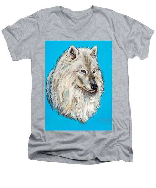 Men's V-Neck T-Shirt featuring the painting Alaska White Wolf by Bob and Nadine Johnston
