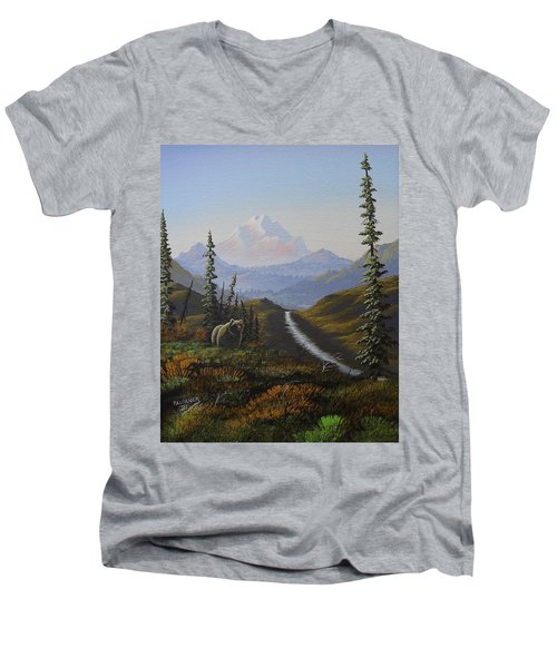 Men's V-Neck T-Shirt featuring the painting Alaskan Brown Bear by Richard Faulkner