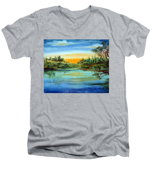 Men's V-Neck T-Shirt featuring the painting Alba Sul Lago by Roberto Gagliardi
