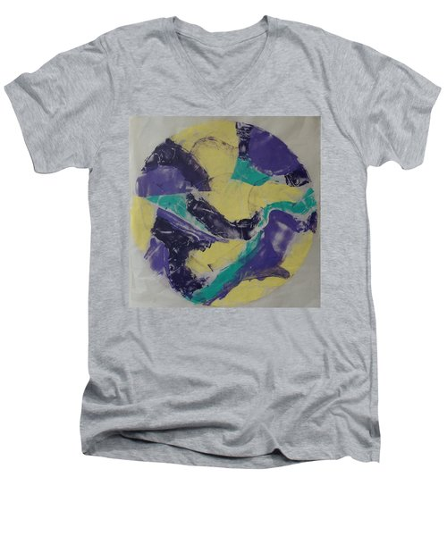 Men's V-Neck T-Shirt featuring the painting Albers Effort by Erika Chamberlin