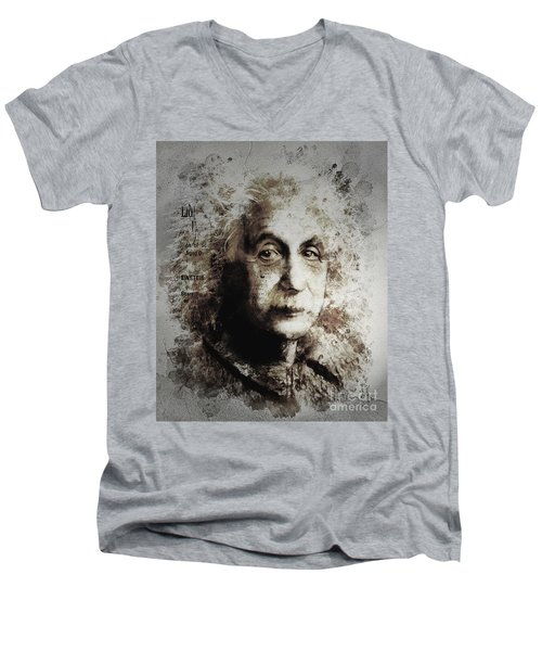 Men's V-Neck T-Shirt featuring the painting Albert Einstein by Shanina Conway