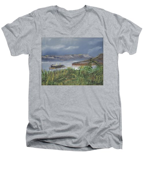 Men's V-Neck T-Shirt featuring the painting Alcatraz by Michael Daniels