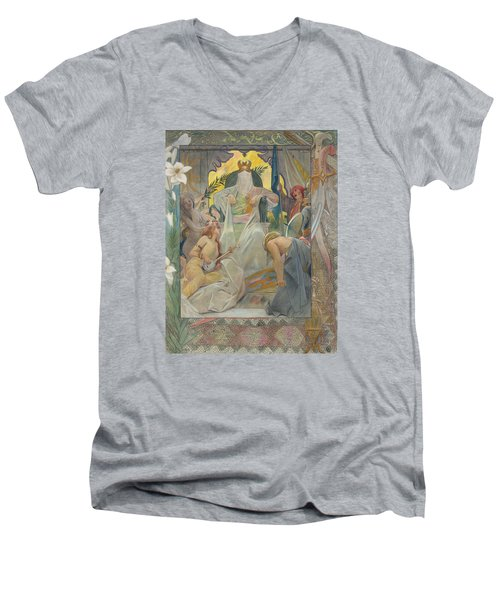 Men's V-Neck T-Shirt featuring the painting Arabian Nights By Andre Castaigne by Antique Art