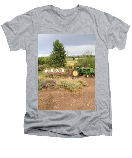 Men's V-Neck T-Shirt featuring the photograph Alfalfa Time by Erika Chamberlin